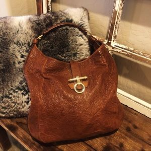 Authentic Givenchy Brown Obsedia Hobo Lamb Handbag